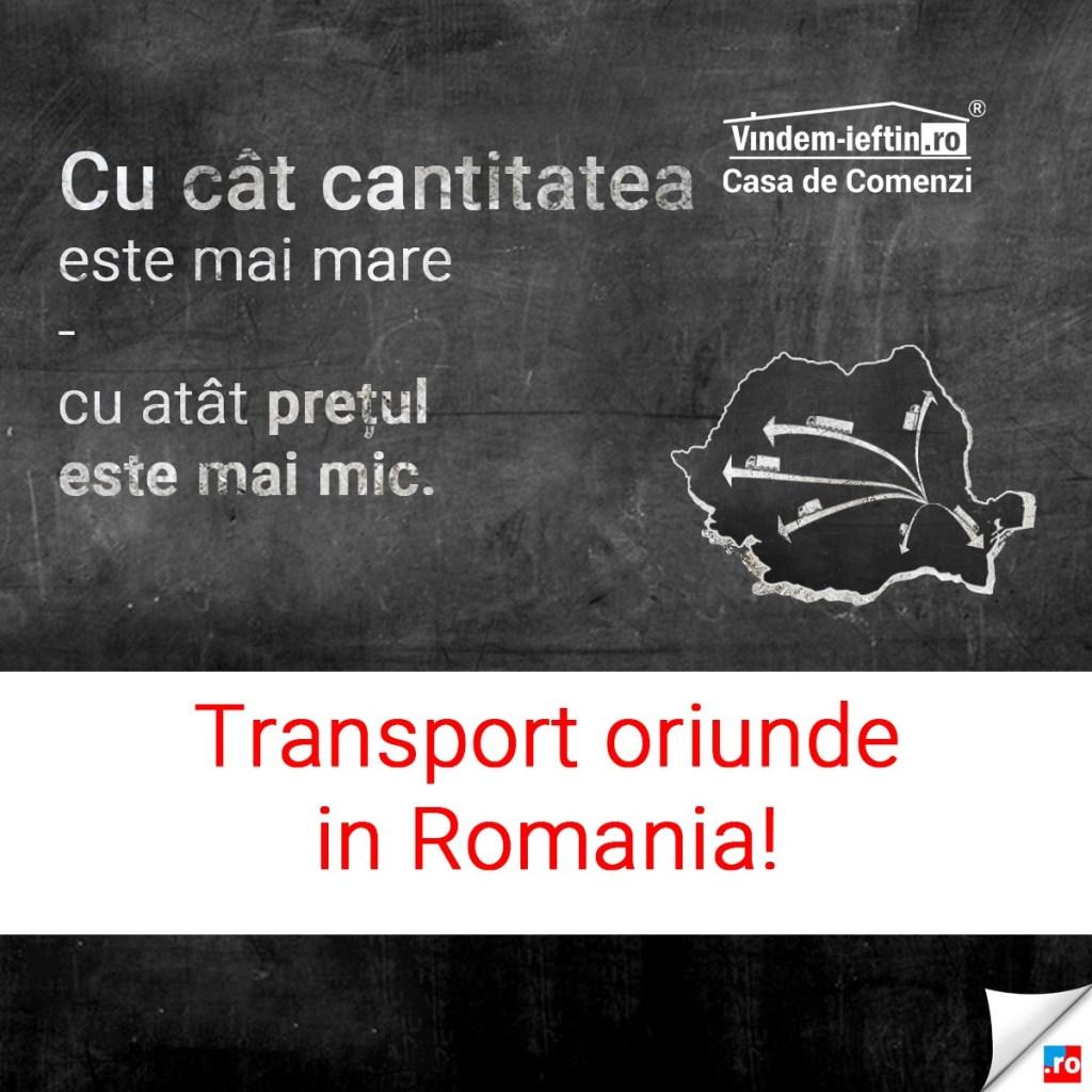Cu cat cantitatea este mai mare, cu atât pretul este mai mic. Vindem-Ieftin.ro ofera transport oriunde in Romania.