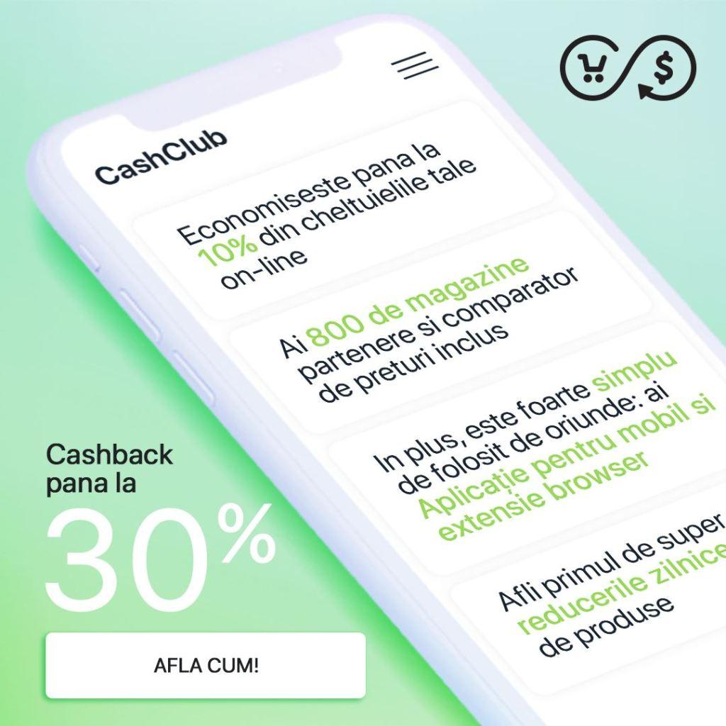 cashback de la cashclub pe mobil