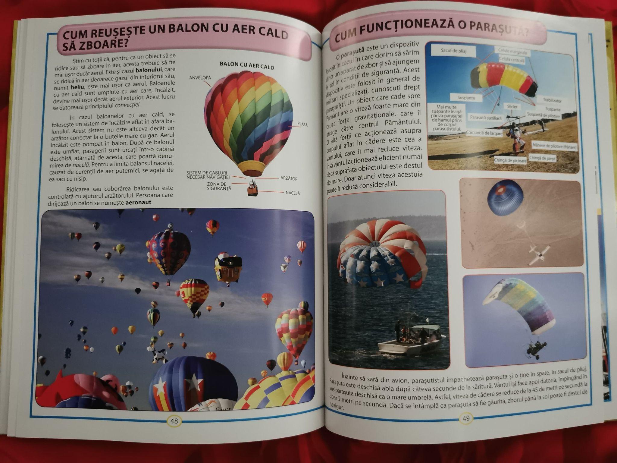 afla totul despre cum functioneaza lucrurile, carte pentru copii. cum functioneaza o parasuta. cum functioneaza un balon cu aer cald